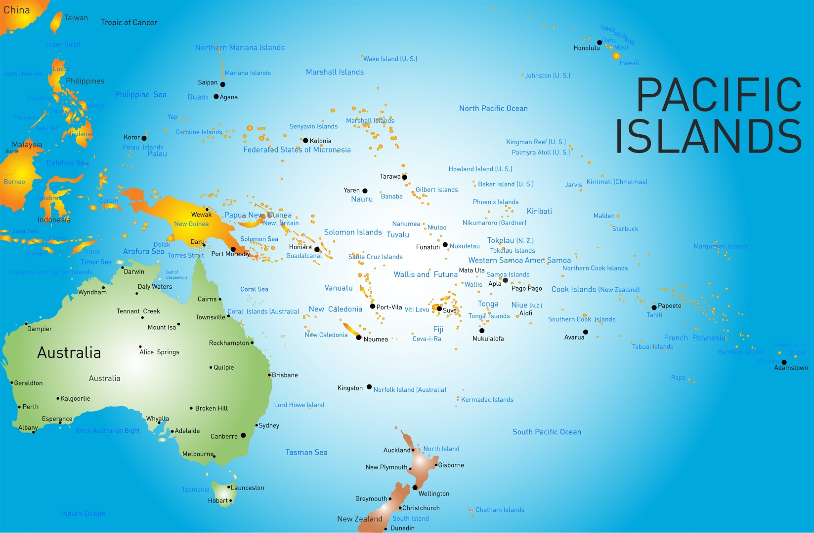 map of pacific islands